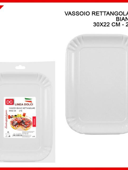 Vassoio Rettangolare Bianco 30X22Cm 2Pz