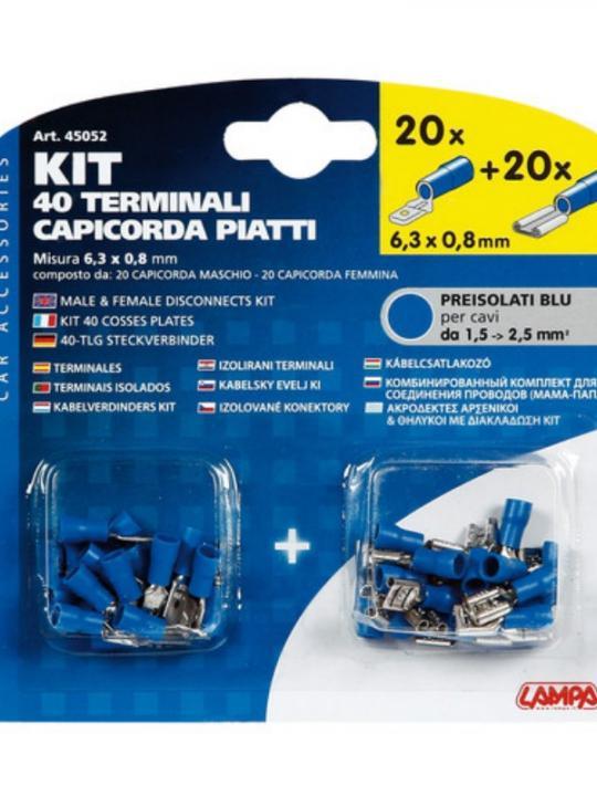 Kit 40 Capicorda Piatti Blu