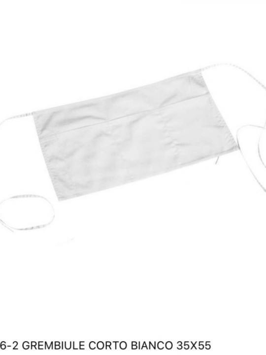 866-2 Grembiule Corto Bianco 35X55