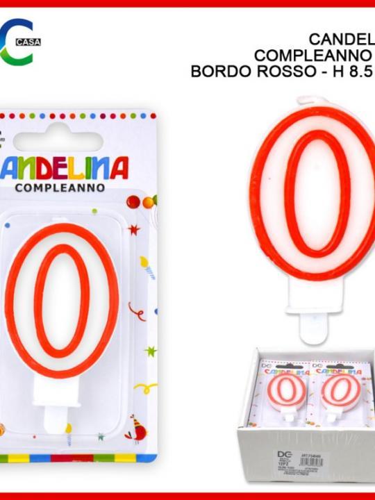 Candelina Compleanno Numero 0 8.5Cm Bord