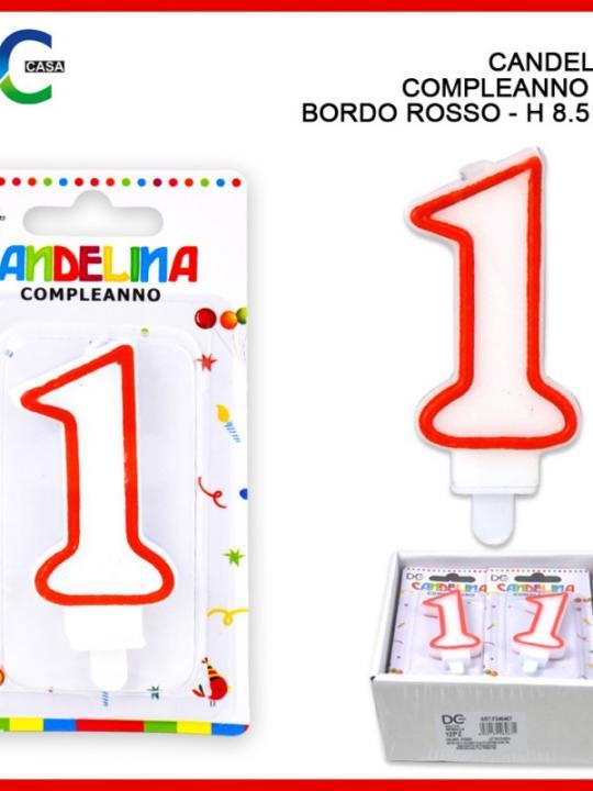 Candelina Compleanno Numero 1 8.5Cm Bord