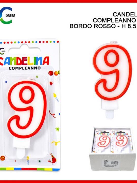 Candelina Compleanno Numero 9 8.5Cm Bord