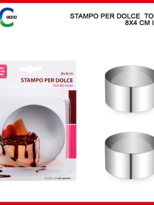 Stampo Per Dolce  Tondo 8X4 Cm Inox