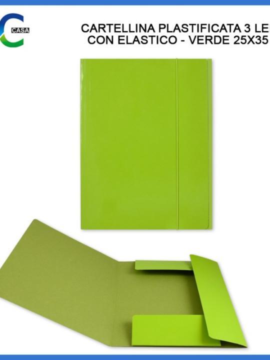 Cartellina C/Elast. 3/L 25X35Cm Verde Ch