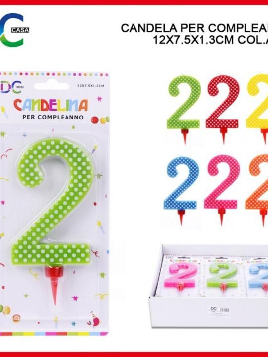 Candelina Compleanno Pois 15Cm Numero 2