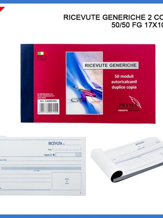 Ricevute Generiche 2 Copie 50/50 Fg 17X1