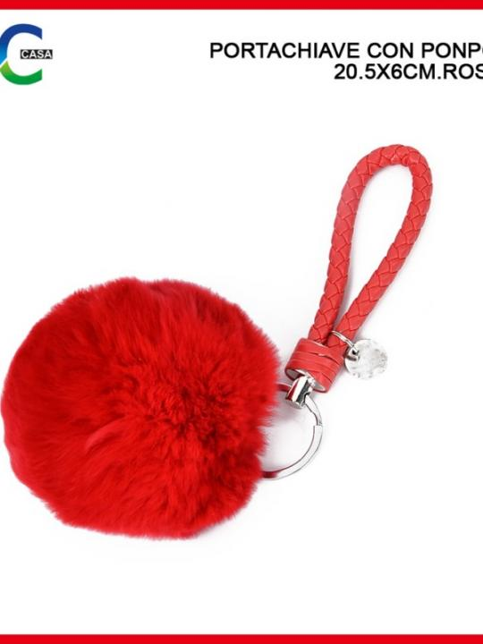 Portachiavi C/Pon Pon 20.5X6Cm 27G Rosso