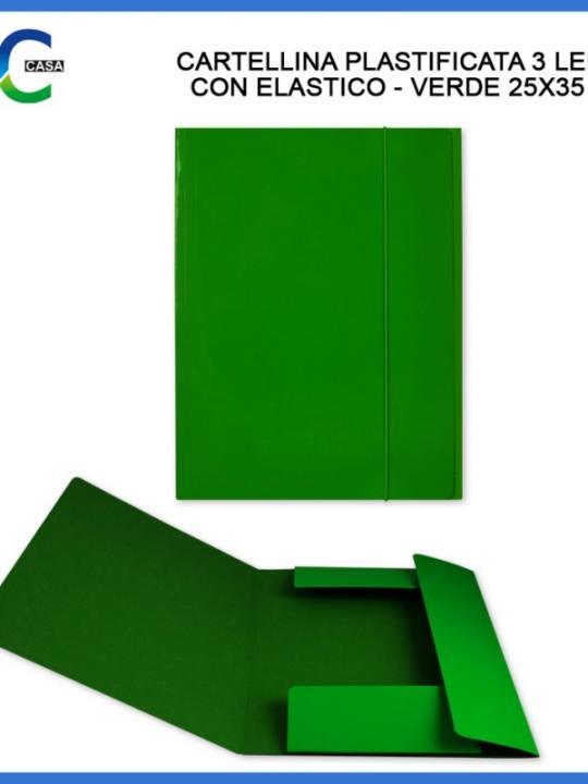 Cartellina C/Elast. 3/L 25X35Cm Verde
