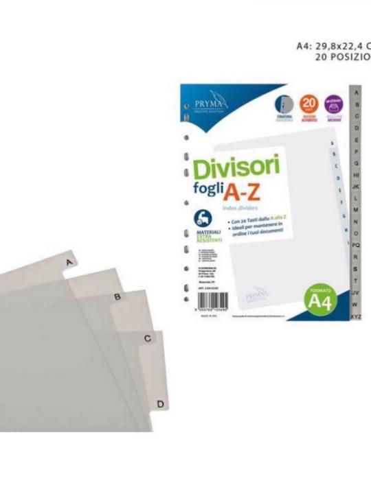 Divisori In Pp Fogli A-Z 29.8X22.4Cm Gri