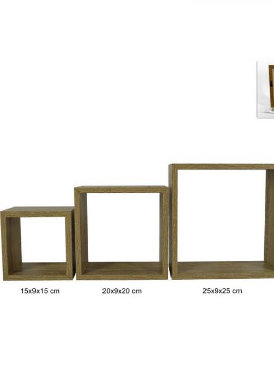 Mensole A Cubo In Legno Set 3 Natural
