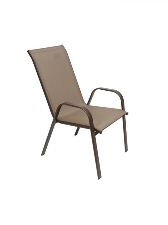 Sedia Metallo C/Tela Pvc Marrone