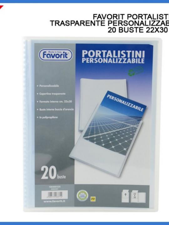 Portalistino Personalizzabile A4 20 Tasc