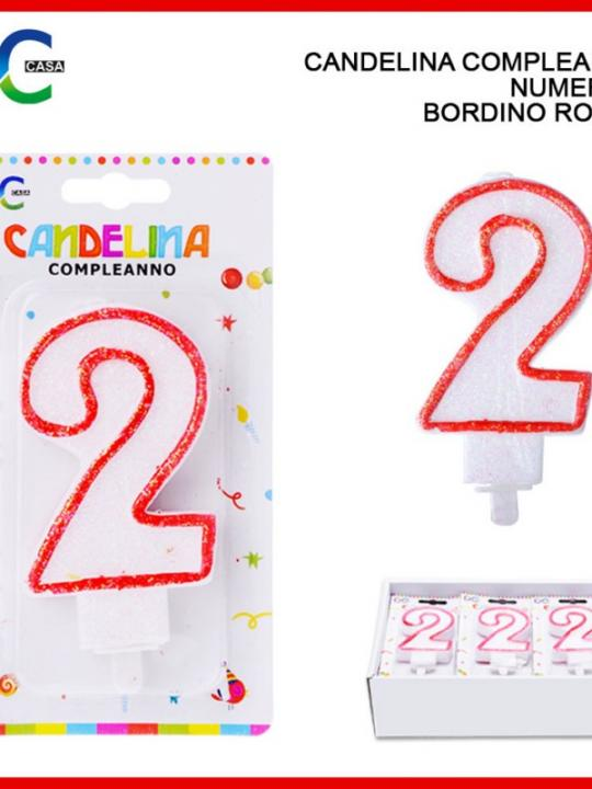 Candelina Compleanno Numero 2 Bordino Ro