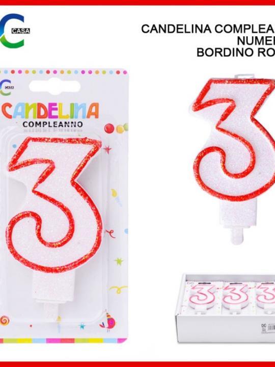 Candelina Compleanno Numero 3 Bordino Ro