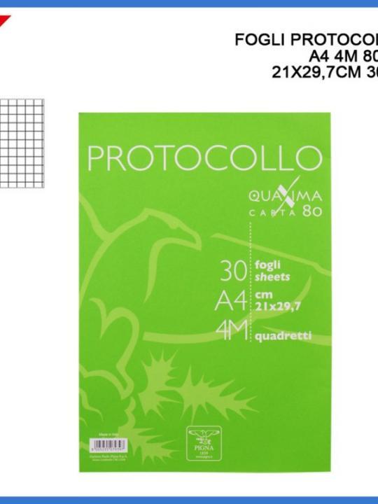 Fogli Protocollo A4 4M 80G 21X29.7Cm 30P