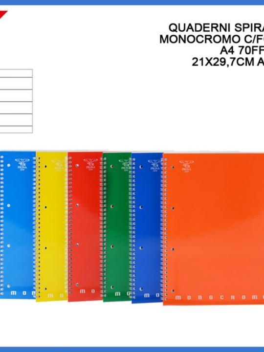 Quaderno Spirale Monocromo C/Fori A4 70F