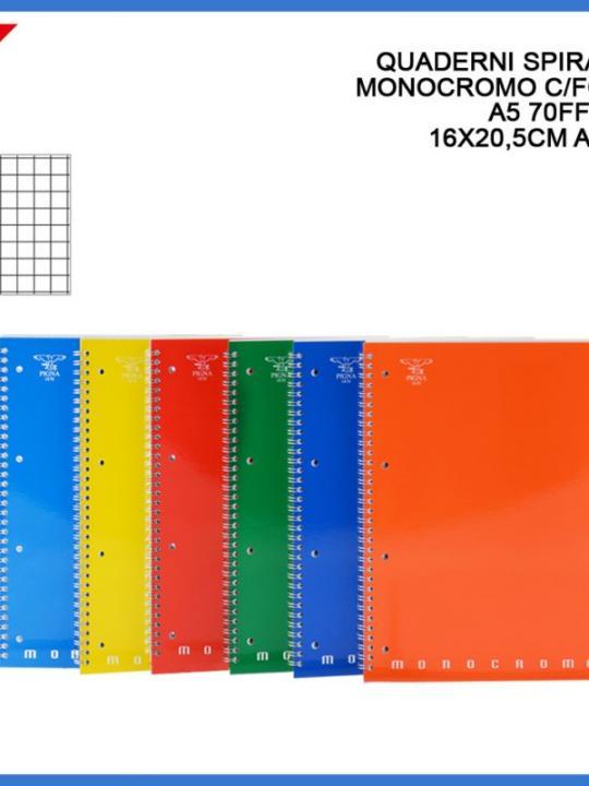 Quaderno Spirale Monocromo C/Fori A5 70F