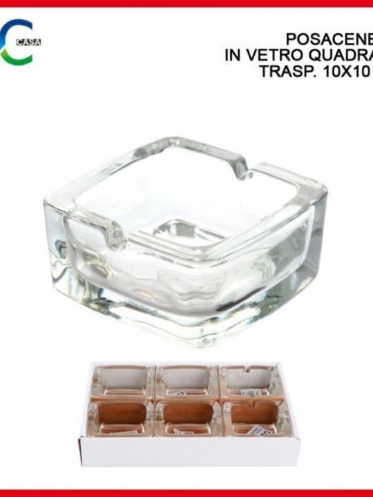Posacenere In Vetro Quadrato Trasp. 10X1
