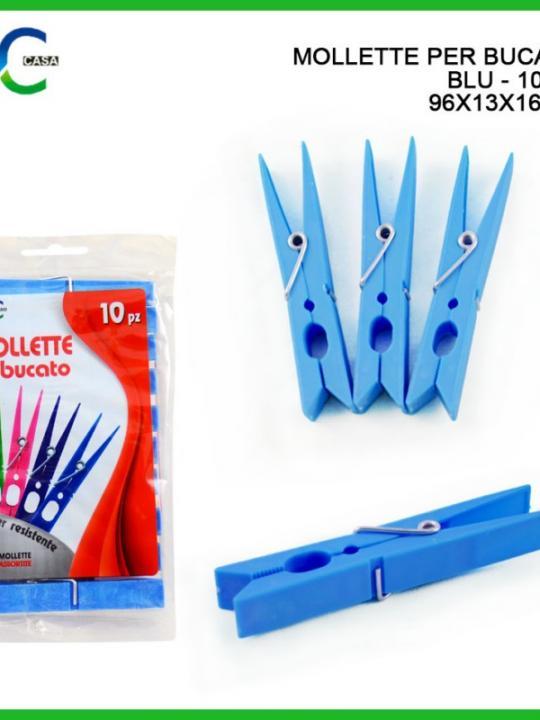 Mollette Per Bucato 10Pz 96X13X16Mm Blu